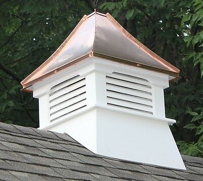 New Cupola Vinyl - Accentua Nantucket Vinyl Cupola with Copper Roof, 20 in. Square, 31 in. High
