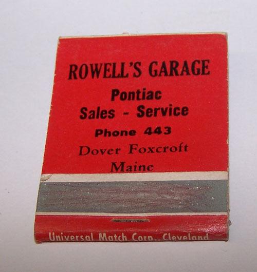 Vintage ROWELL'S PONTIAC GARAGE SALES Matchbook Cover DOVER FOXCROFT MAINE