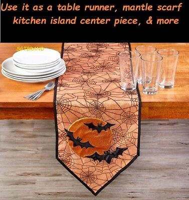Halloween Spiderweb Bats Moon Table Runner Pumpkin 72