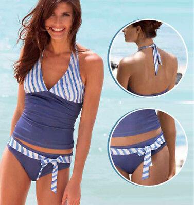 55Stk x Damen Neckholder Tankini 2er Set blau/weiß Schwimmanzug Badeanzug Bikini