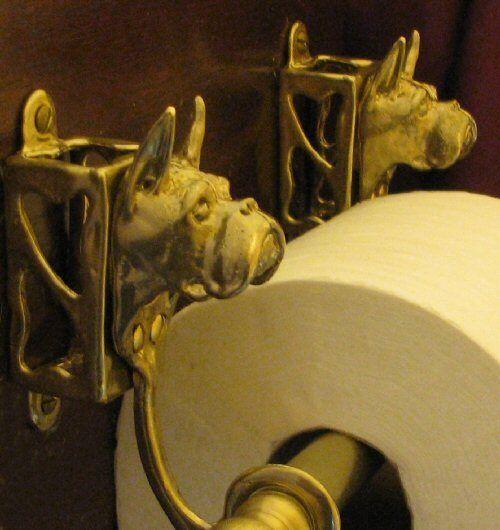 BOXER, CROPPED EARS, Bronze Toilet Paper Holder OR Paper Towel Holder!
