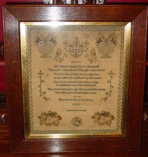 Antique Sampler by Elizabeth Mary Grattan---1841-----------14933