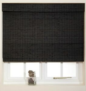 Woven Wood Classic Roman Blinds Cream or Black Finish NEW 60, 90, 120, 180cm