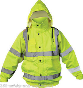 Hi-Vis Class 3 Safety Jacket, Reflective Coat, Bomber Jacket, Size:XLarge
