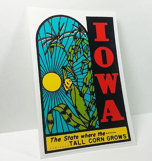 IOWA Vintage Style Travel Decal / Vinyl Sticker, Luggage Label
