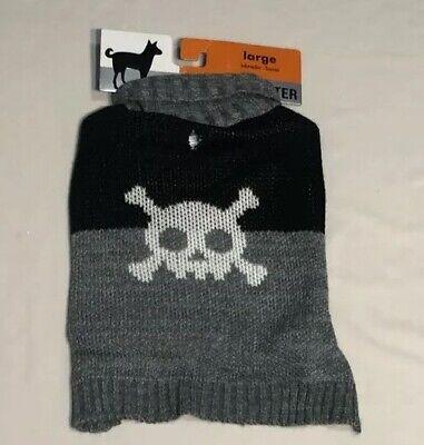 NWT Dog Sweater SzLG (Labrador/Boxer) GRY/BLK/WHT W/skull Pic Stretchy Cozy Fun (Labrador Dog Costumes)