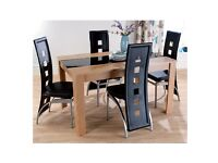 Hudson Oak & Black Glass Rectangular Table + 4 Black faux leather chairs