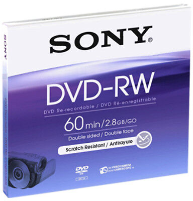 10 Sony DVD-RW mini 8cm 60Min 2,8GB Doppelseitigwiederbeschreibbar Camcorder 8 Gb Dvd