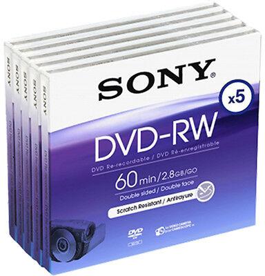 5 Sony DVD-RW mini 8cm 60Min 2,8GB Doppelseitigwiederbeschreibbar für Camcorder