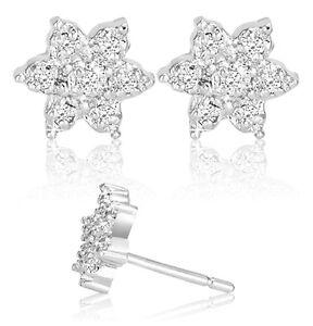 1-10-Carat-Diamond-Sterling-Silver-Flower-Stud-Earrings