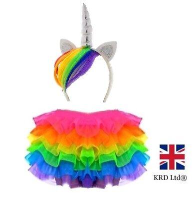 RAINBOW TUTU COSTUME Kids Girls Halloween Unicorn Dash Pony Fancy Skirt Dress UK