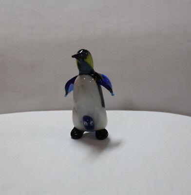 Hand Blown Glass Lamp Murano Glass Figurine Penguin with Baby #1