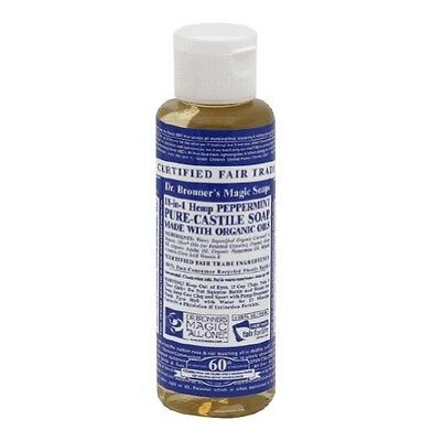 New Dr. Bronner's Organic Castile Liquid Soap Peppermint and Hemp 4 Oz CSPE04