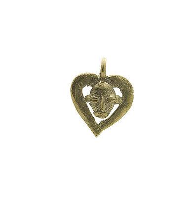 Pendant or Door Keys Mask Heart Art African Tribale Figure Bronze 6053