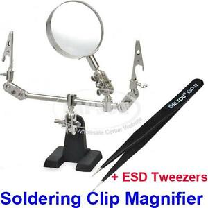 Hand-Soldering-Stand-PCB-Holder-Clamp-Clip-5X-Magnifier-Len-Anti-Static-Tweezer