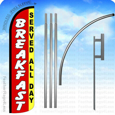 Breakfast Served All Day - Windless Swooper Flag 15 Kit -feather Banner Sign Rz