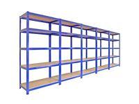 5 Metal Racking Bays, Garage Shelving, Heavy Duty Storage Rack Units