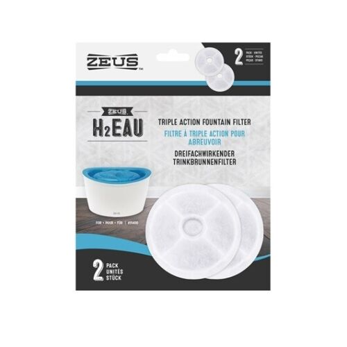 ZEUS H2EAU TRIPLE ACTION FOUNTAIN FILTERS FOR DOG FOUNTAIN WATERER 2 PACK