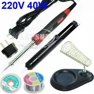 40W-Electric-Soldering-Iron-Kit-Stand-Desoldering-Pump-Sucker-Solder-AU-Adapter