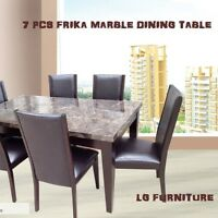 GORGEOUS REAL MARBLE TOP DINING TABLE WITH 6 CHIARS