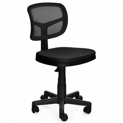 Costway Armless Office Chair Adjustable Swivel Computer Mesh Desk Chair Black