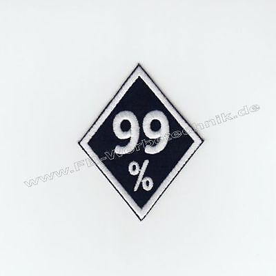 99% Biker Raute Kutte Patch Aufnäher 8 x 6,5 cm gestickter Rocker Weiß gestickt
