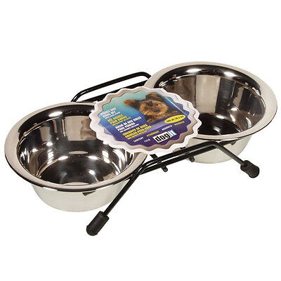 Hagen Dogit STAINLESS STEEL DOUBLE DINER Bowl Dog Pet Feeder 3 Size Choices