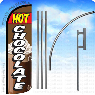 HOT CHOCOLATE Windless Swooper Feather Flag 15' KIT Banner Sign - - Hot Chocolate Kit