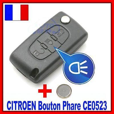Coque PLIP Télécommande CITROEN Picasso C2 C3 C4 C5 C6 3 Boutons CE0523 +Pile for sale  Shipping to Canada