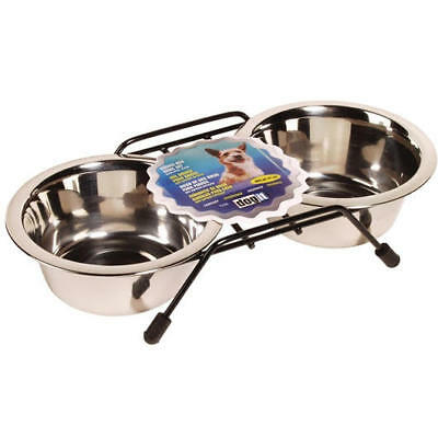 Stainless Steel Double Dog Diner, Small, with 2 x 13.5 fl oz bowls and stand