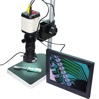 Hd Video Microscope Set Industry Camera Vga Usb Av Tv Zoom Lens 8 Lcd Monitor