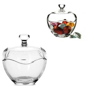 Fancy Clear Transparent Cut Glass Round Dish Jar Candy Box Bowl With Lid Gift