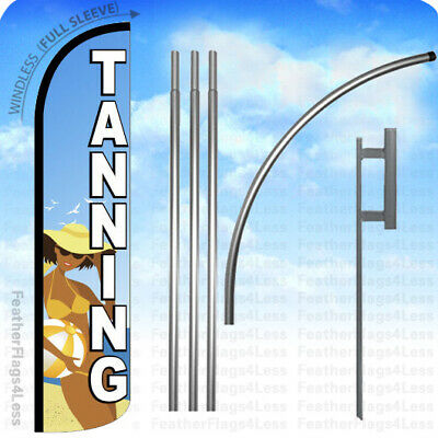 Tanning - Windless Swooper Feather Flag 15 Kit Salon Banner Sign - Bz