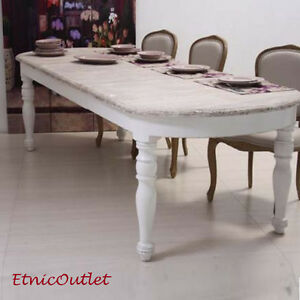 Tavolo ovale bianco shabby chic allungabile tavoli for Tavolo ovale bianco design