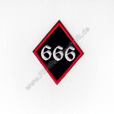 666 Raute Patch Aufnäher 8 x 6,5 cm gestickt Rockabilly Biker Rocker Zahl NEU