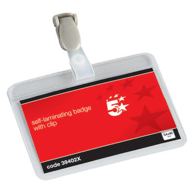 5 Star Office Name Badges Self Laminating Landscape Plastic Clip 54x90mm Pk25