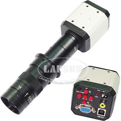 Hd Vga Cvbs Tv Usb 3in1 Industry Microscope Video Camera 180x C-mount Lens