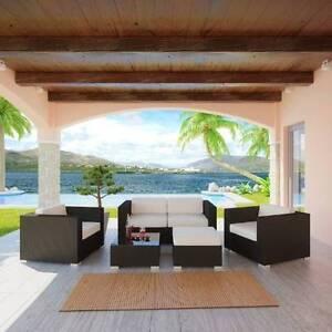 Outdoor/Indoor 5pc Brown Sofa Setting w/ Creme Cushions , Berwick Berwick Casey Area Preview