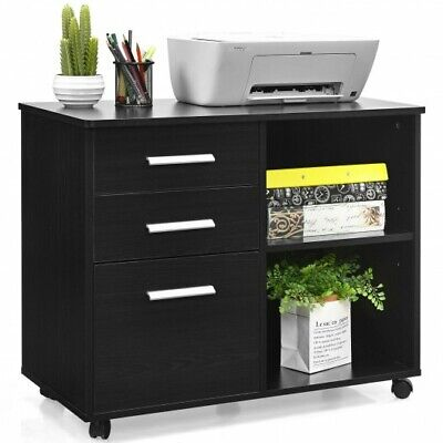 Costway 3-drawer File Cabinet Mobile Lateral Cabinet Printer Stand Black