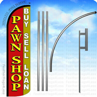 Pawn Shop Buy Sell Loan - Windless Swooper Flag Kit Feather Banner Sign - Rq