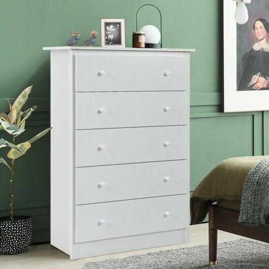 Chest of Drawers 5 Drawer Dresser Functional Storage Organizer Closet White
