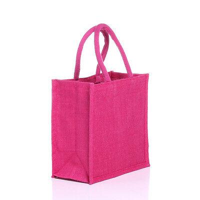5 x Luxury Mediam plain jute bags, 5 pcs. Pink . Christmas discount £12.99](Discount Tote Bags)
