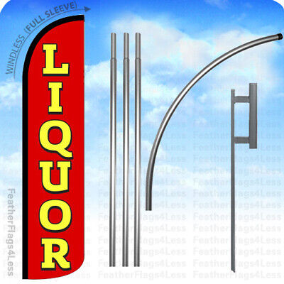 Windless Swooper Feather Banner Sign Store Flag 15 Kit - Liquor Rz