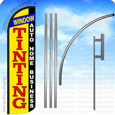 WINDOW TINTING AUTO HOME - WINDLESS Swooper Flag 15' KIT Feather Banner Sign yq Home Flag Kit