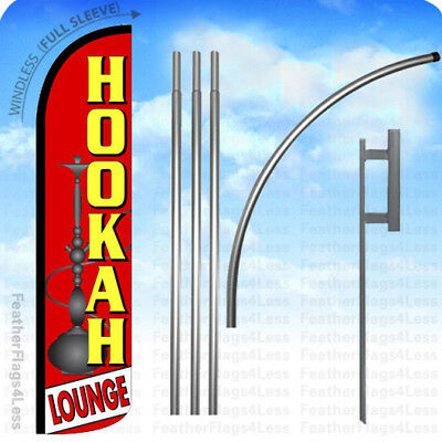 Hookah Lounge - Windless Swooper Flag 15 Kit Feather Banner Sign - Rz
