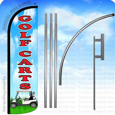 Golf Cart - Windless Swooper Flag Kit 15 Feather Banner Sign - Bq