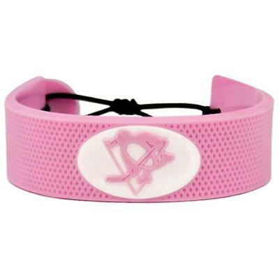 Nhl Pink Hockey Bracelet - Pittsburgh Penguins Logo NHL Hockey Puck Rubber Pink Bracelet