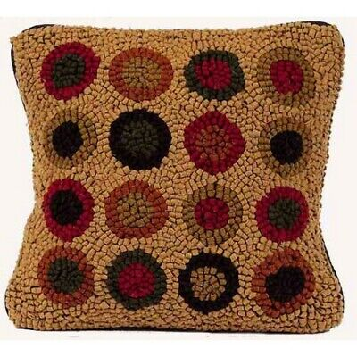 Penneys On My Pillow Nutmeg Hooked Wool Throw Pillow Primitive Farmhouse New