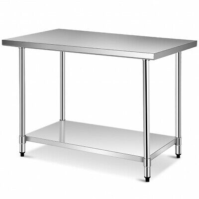 Stainless Steel Food Preparation Kitchen Table Metal Large Galvanized Silver