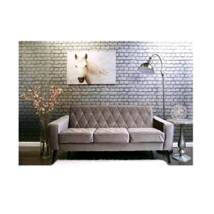 New TOV Furniture TOV-183-21 Bowery Petite Velvet Sofa, Grey.